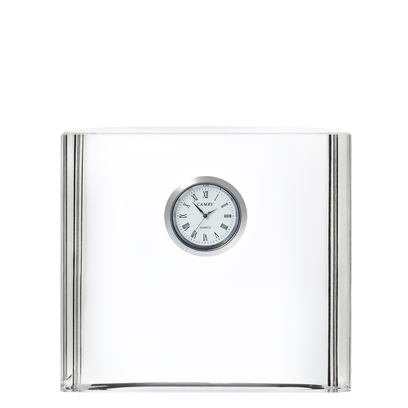 Orrefors Vision Square Desk Clock,1 1/4 x 5 x 41/2 in.