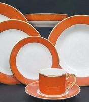 Pickard ColorBurst Orange Gold Ivory Charger Plate