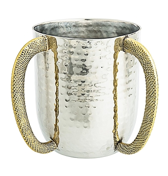 Classic Touch Hammered Washing Cup With Gold Handles