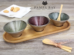 Pampa Bay Lets Entertain Set Of 3 Glass Bowls With Acacia Tray And Bamboo Spoons