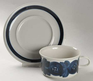 Arabia Anemone Flat Cup And Saucer