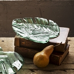 Annieglass Leaves 8 3/4 x 7 1/2'' palm frond plate
