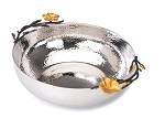Classic Touch Stainless Frangipani Black and Gold Salad Bowl