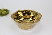 Pampa Bay Monaco Titanium-Plated Porcelain Gold Tone Ceramic Beaded Med Bowl, 8.5 in. x 3.5 in.
