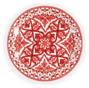 Q Squared Melamine Talavera Red Salad Plate Set of Four