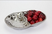 Pampa Bay Verona Titanium-Plated Porcelain Ceramic Beaded Rectangular Divided Bowl, 13 in. x 9 in. x 2.5 in.