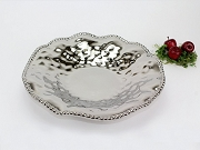 Pampa Bay Verona Titanium-Plated Ceramic Beaded Round Large Serving Platter, 14 in. x 2.5 in.