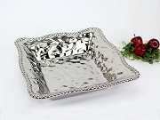 Pampa Bay Verona Titanium-Plated Porcelain Ceramic Beaded Square Serving Bowl, 11 in. x 11 in. x 2.5 in.