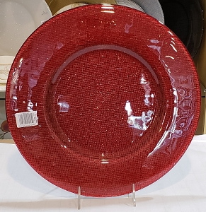 Villeroy and Boch Verona Charger : Red Silver Glitter