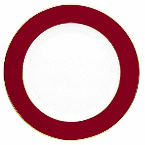 Bernardaud Opaline Morroccan Red / Gold Service Plate - 11.6 In