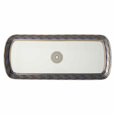 Bernardaud Eventail Blue Cake Platter Rectangular - 15 In Sp Order