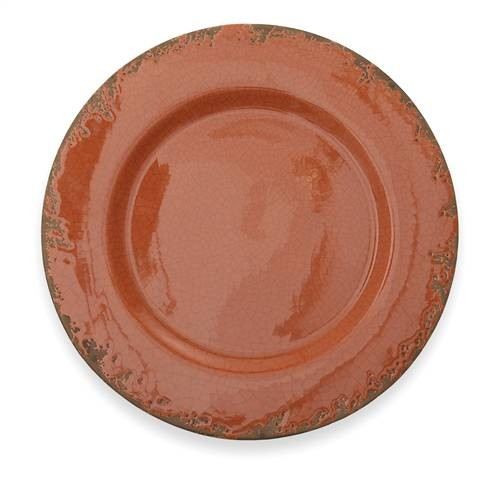 "Arte Italica Scavo Crackled Rust Charger 14"" D"