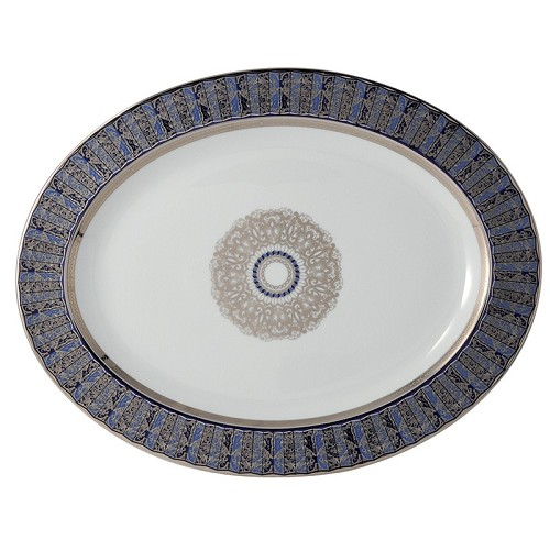 Bernardaud Eventail Blue Oval Platter - 15 In