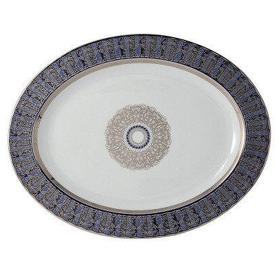 Bernardaud Eventail Blue Oval Platter - 13 In