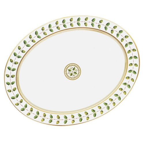 Bernardaud Constance Green Oval Platter - 15 In