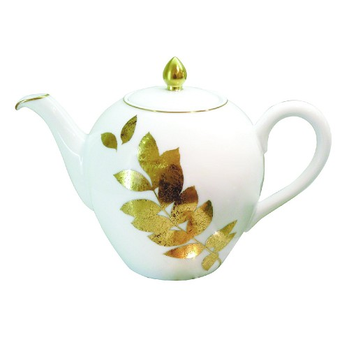 Bernardaud Vegetal Gold Teapot (Boule Shape)