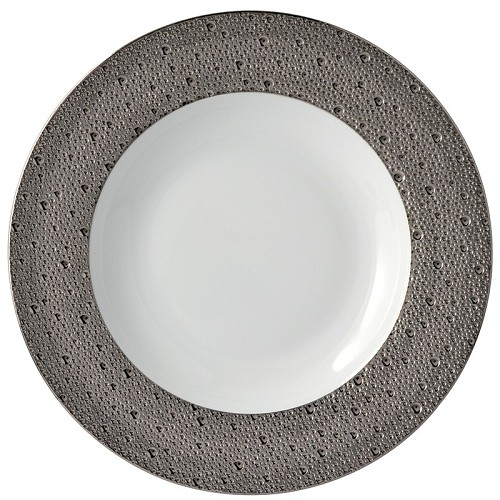 Bernardaud Ecume Platinum Rim Soup - 11.6 In