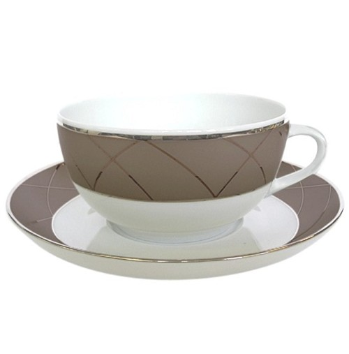 Haviland AURORE WITH ARCHES CAPPUCCINO CUP/SAUCER
