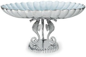 "Julia Knight Sea Horse 20"" Pedestal Bowl Hydrangea"