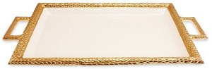 "Julia Knight Florentine 23"" Beveled Tray with Handle Gold Snow"