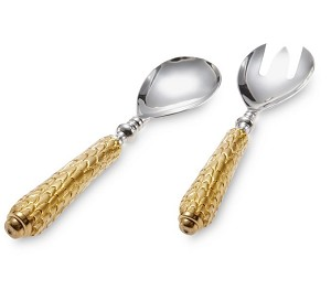 Julia Knight Florentine Salad Serving Set Gold