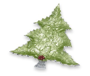 "Julia Knight Holly Sprig 16"" Tree Platter Mojito with Red Berries"