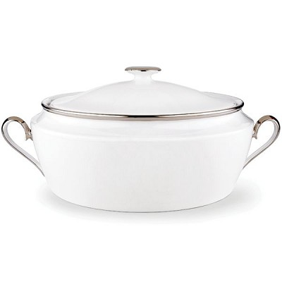 Lenox  SOLITAIRE WHITE DW COVERED VEG BOWL 11 d,96 oz