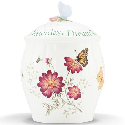 Lenox  BUTTERFLY MDW DW SENTIMENT COOKIE JAR 9.5 h
