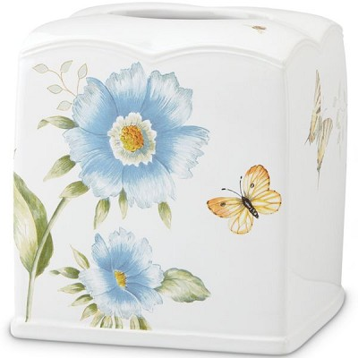 Lenox  BLUE FLORAL GARDEN TISSUE HOLDER 6.25 h
