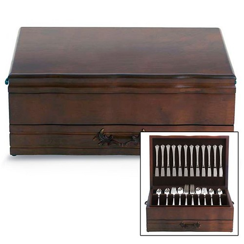 REED AND BARTON PERSONALIZED PROVINCIAL 1-DRAWER MAHOGANY/BROWN CHEST