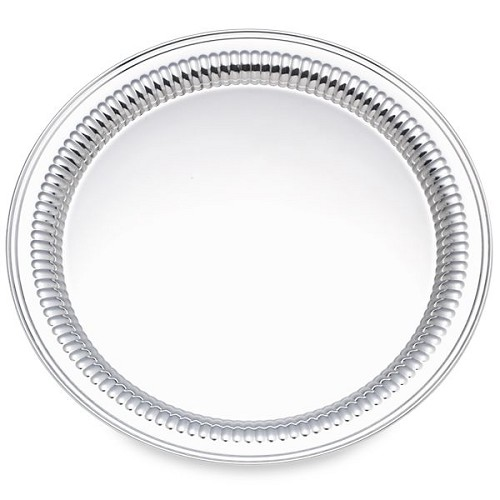 REED AND BARTON PERSONALIZED QUEEN ANNE ROUND TRAY 12.0 PLAIN