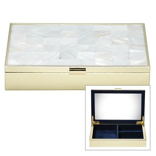 REED AND BARTON MOTHER OF PEARL GOLD JEWELRY BOX