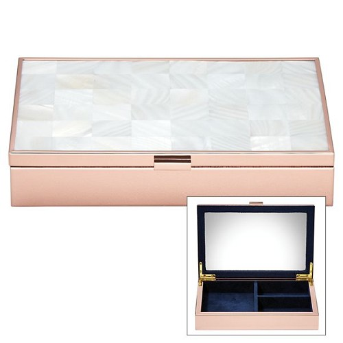 REED AND BARTON MOTHER OF PEARL ROSE GOLD JEWELRY BOX