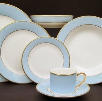 Pickard ColorBurst Blue Gold Ivory Dinner Plate