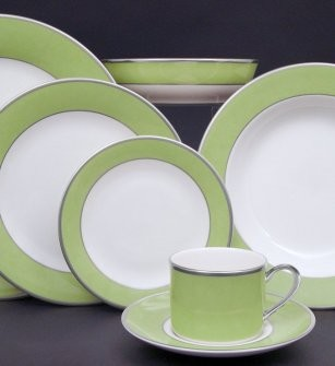 Pickard ColorBurst Green Gold Ivory Dinner Plate