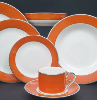 Pickard ColorBurst Orange Platinum Ivory Tea Cup