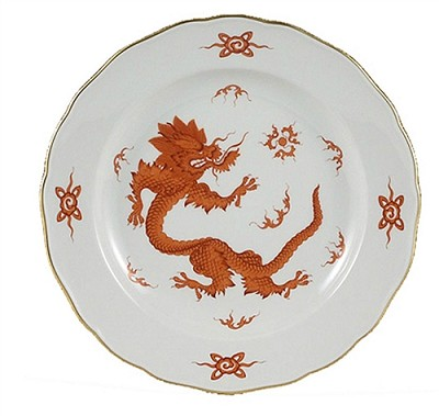 Meissen Ming Dragon Red Cake Platter