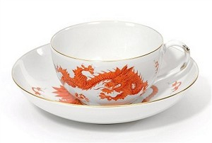 Meissen Ming Dragon Red Cup & Saucer 10634