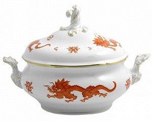 Meissen Ming Dragon Red Oval Tureen